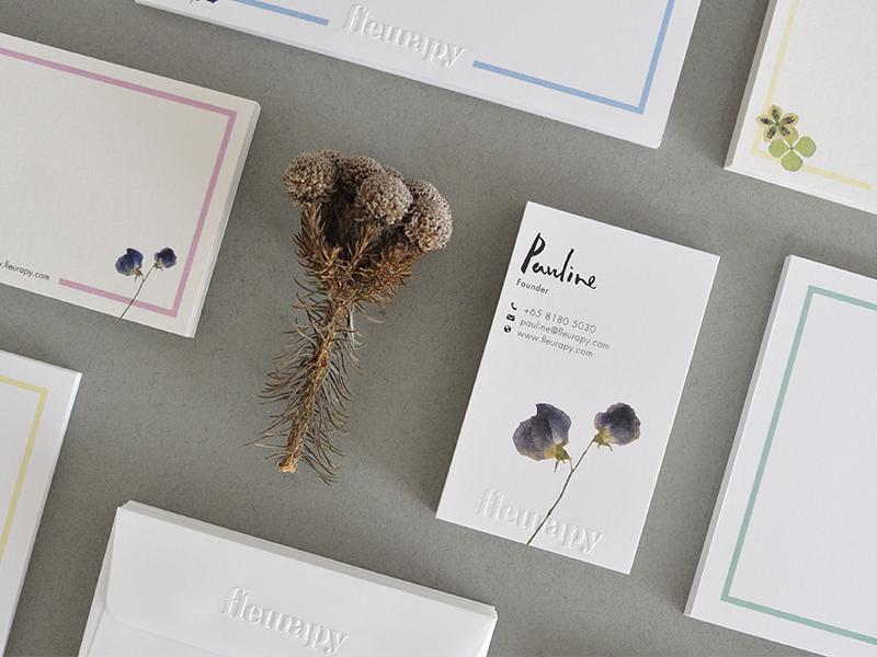 Fleurapy print pastel logo identity fresh flowers emboss branding
