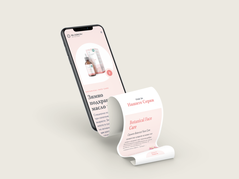 Ikarov Website – Mobile playful ux web interface illustration light cosmetics ui design landing ui design