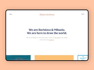 SistersInDraw - Project Page light ux transition animation illustration web interface ui design landing ui design