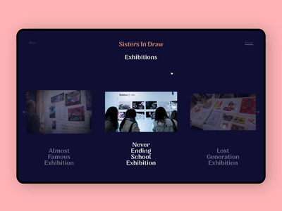 SistersInDraw - Exhibition Page illustration transitions page interface web ux ui design landing ui design