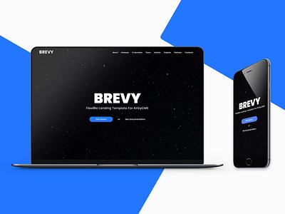 Kirby CMS Theme Design - Brevy blue u design ui web design retina web responsive template design in code code live system management content cms brevy design kirbycms kirby theme