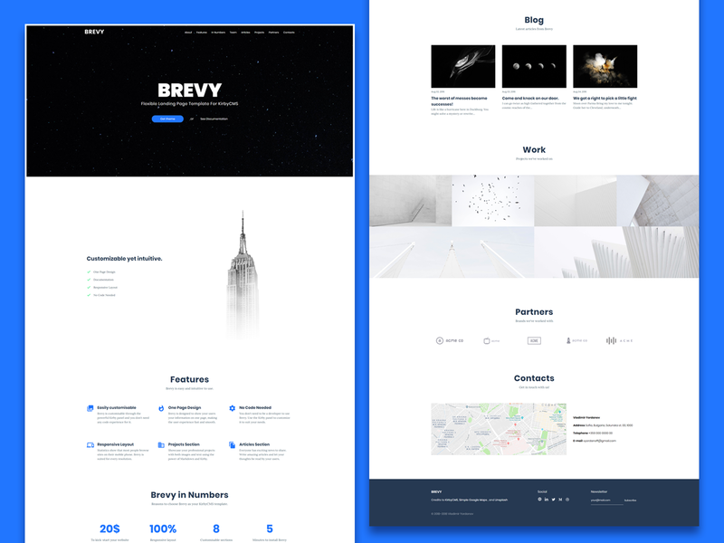 Brevy Showcase code inspiration theme design multipurpose business interface minimal clean light blue kirby theme typography ux page design landing ui design ui