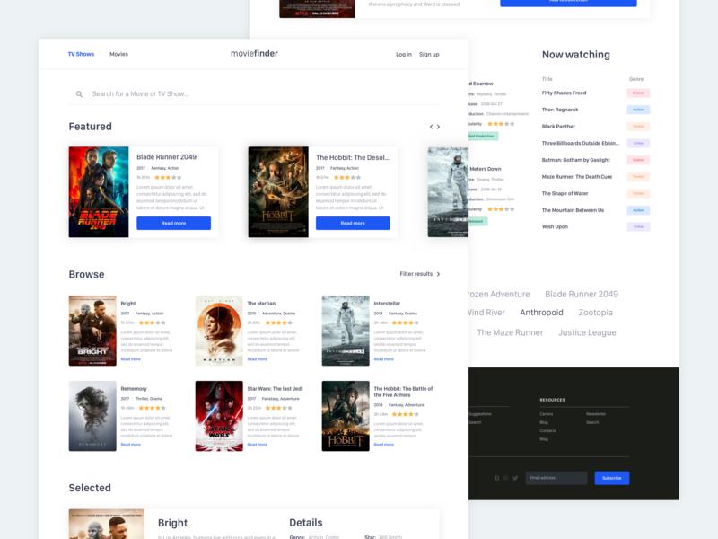 MovieFinder shows finder movie design layout