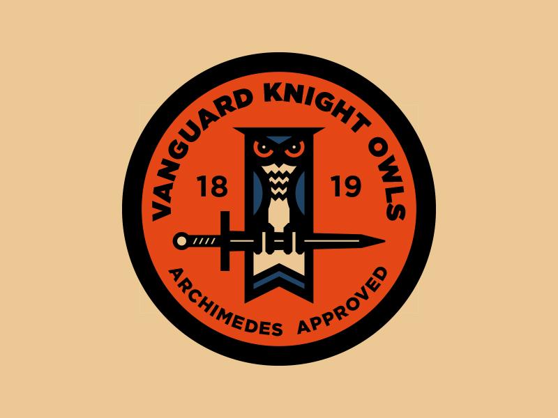 Knight Owls - Badge seal library highschool reading logo design illustration geometric logo branding vector badge design owl logo owls badge logo badge hunting thick lines badge