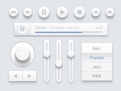 Music Ui Design Kit icons ios app music ui desing kit paco button white toggle