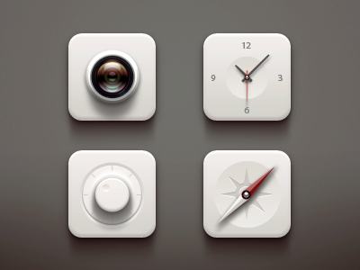 White Icons compass icons icon white camera paco clock button settings ios ui iphone
