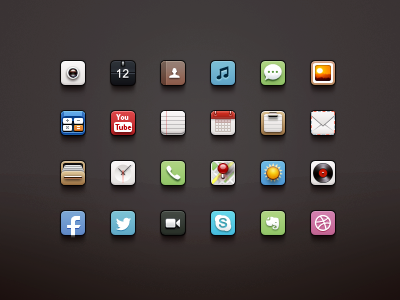 iOS Icons app logo icon application ios iphone camera paco twitter facebook mail weather music video youtube notes photo icons skype dribbble maps calendar calculator
