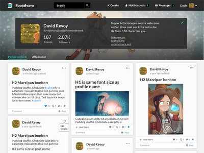 Socialhome Redesign fediverse grid layout user interface social network
