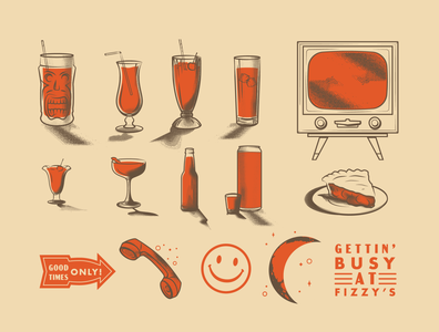 Fizzy's Assets 50s bar vintage drinks drinks halftone illustration