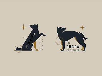 The DogPa branding dog training canine silhouette geometric flat design dog logo husky wolf dog
