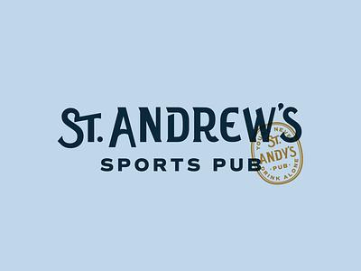 St. Andrew's omaha old english golf scottish vintage stamp bar pub sports branding sans serif logotype
