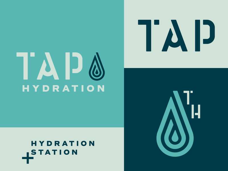 Tap Hydration branding logotype drip drop wellness health ocean water hydration iv therapy