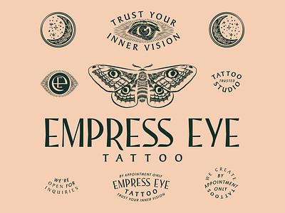 Empress Eye Tattoo branding scratchboard custom lettering badges moth tattoo occult vintage logotype