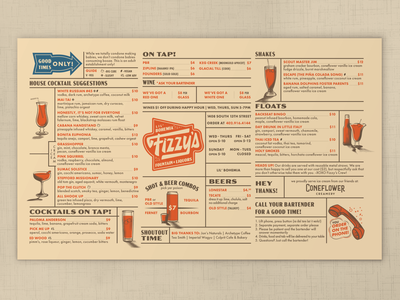 Fizzy's Menu vintage halftone restaurant branding bar branding diner vintage menu 60s 50s bar menu restaurant menu