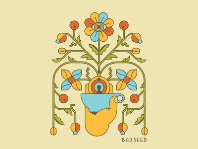 Bad Seed Bouquet bouquet illustration psychedelic vines coffee flower branding vintage