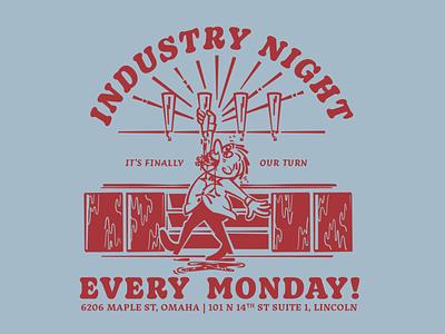 Industry Night vintage bartender bar beer mascot cartoon 50s