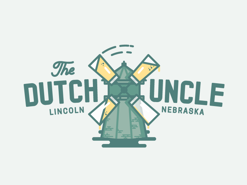 The Dutch Uncle bar drink dutch windmill beer linework logo logotype