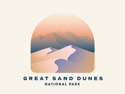 Great Sand Dunes National Park gradient national parks badge texture vintage illustration