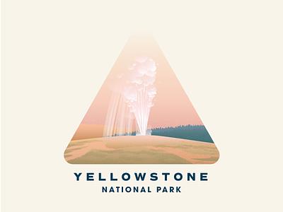 Yellowstone National Park old faithful badge gradient vintage national park yellowstone texture illustration