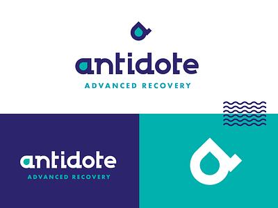 Antidote water icon iv therapy lettering branding logo design logotype logo