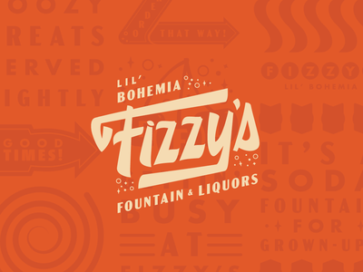 Fizzy's Fountain & Liquors fizzy fizz lettering bar branding soda diner branding vintage logotype logo