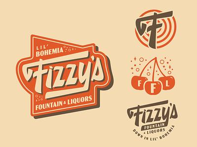Fizzy's Fountain & Liquors branding fizz soda 50s diner script vintage lettering vintage badge logotype logo