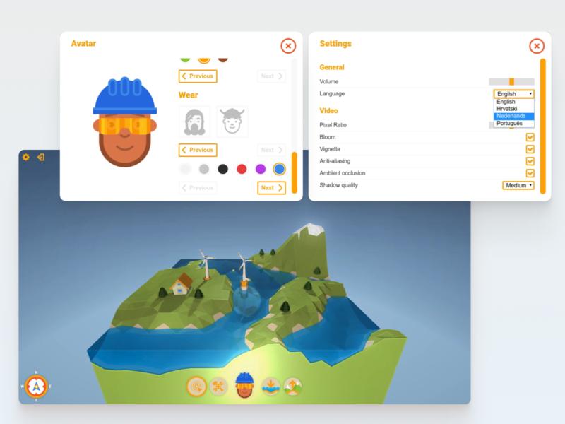 Buurkracht prototype renewable energy web ui game 3d