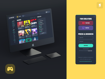 GameTomb / Website UI redesign campaign games responsive design cute rounded interface clear dark web game ui