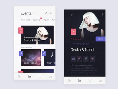 Events onuka interface profile event dark blue white product mobile ios ux ui
