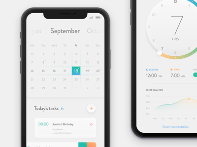 Calendar & bedtime - concept to do tasks iphone x visual ui app bedtime calendar product ios mobile