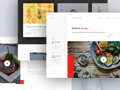 Food & design blog website ux ui thadde paris food meneur landing desktop design clean blog