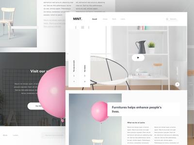 Furniture website interaction grid layout colors freelance paris designer clean ux ui