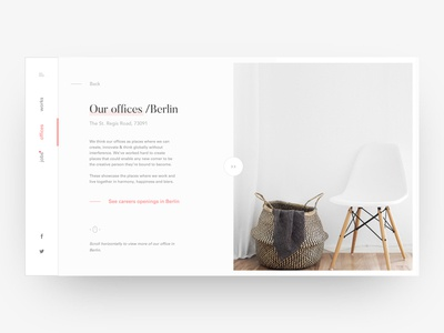 Agency Office Page paris ux user ui thadde interface interaction furniture design clean cards app