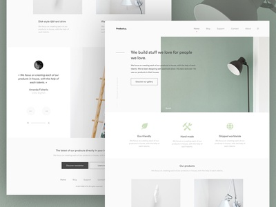 Product Agency Homepage ux user ui thadde meneur interface interaction design clean template homepage furniture