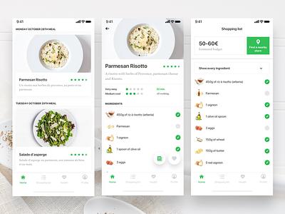 Meal idea assistant paris freelance food app design meneur thadde ux ui clean