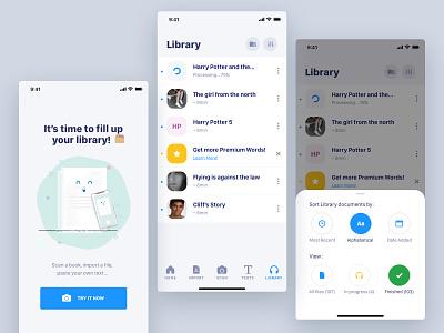 Library Speechify interface designer app freelance paris design meneur thadde clean ux ui