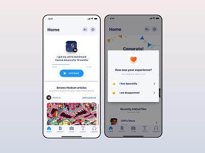 Home Dyslexics & Students Application cards emoji heart student home interface designer app paris freelance thadde meneur ux clean ui speechify