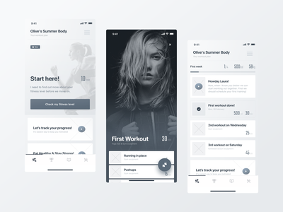 Reach — Wireframes clean minimal fitnes mobile application app wireframes training personal trainer coach