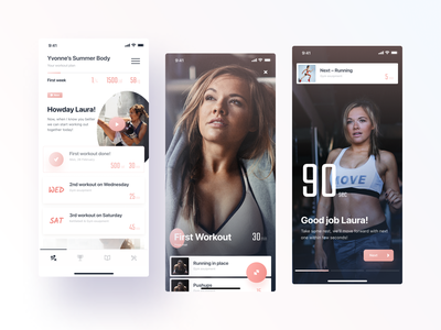 Reach — Workout exercises pink personal trainer training trainer fitness mobile app ios tonik product design clean ui ux