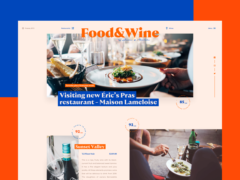 🍷 elegant typography simple ux ui magazine food wine serif webdesign web blog