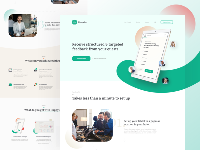 Be happy with HappyGo 🗝 ux ui website web ipad landing page green clean hotel product design product