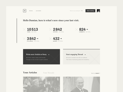 IJR — Dashboard writers wireframes web ux user experience user product design product politics dashboard news medium journalist ijr fake news experience clean author