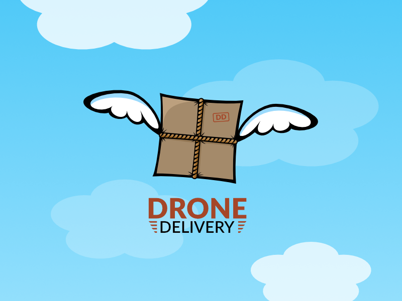 Drone Delivery affinity logo delivery package drone