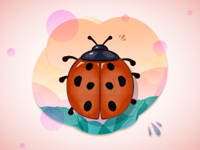 CARTOON VECTOR ILLUSTRATION FLORAL FRAME WITH LADYBUG gradient white webdesign web design web vector typography illustration graphic design flat drawing design creative color card branding art advertising abstract