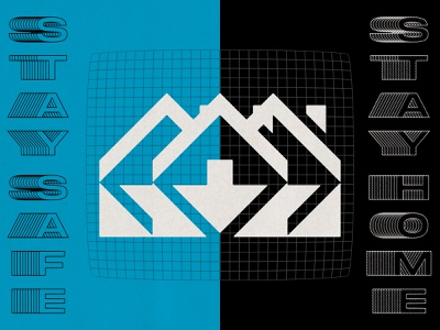Stay Home 04 19 20 simple geometrical icon symbol bold split grids white lines grid black blue coronavirus stay safe stay home