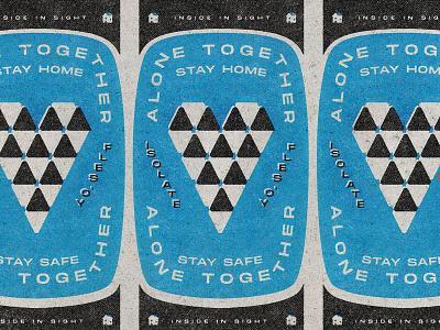 Stay Home 04 27 20 home house flatdesign flat vector white black blue coronavirus quarantine isolation alone together stay home stay safe heart geometric retro matchbook texture minimal