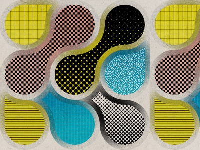 Bubble Ogee Pop I dots benday grainy abstract popart pop circles grid ogee metaball pattern geometric
