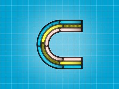 C 36DOT08 pop art geometric lines letter c 36daysoftype 36daysoftype08 36dot pattern c