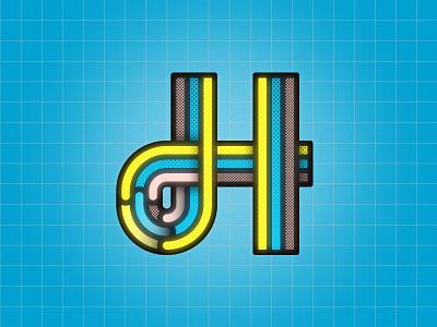H 36DOT08 typeface design typeface vector dots geometric letter-h 36days 36days08 h