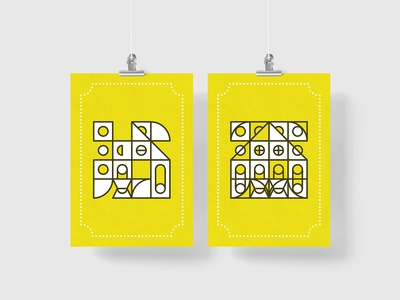 Yellow Geo Grid Poster